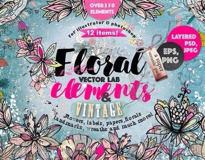"Vector lab "" Flowers& vintage"" 250 elements"