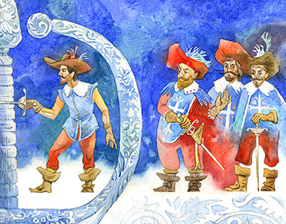 The Three Musketeers watercolor illustrations