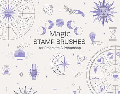 Magic Stamp Brushes for Procreate & Photoshop