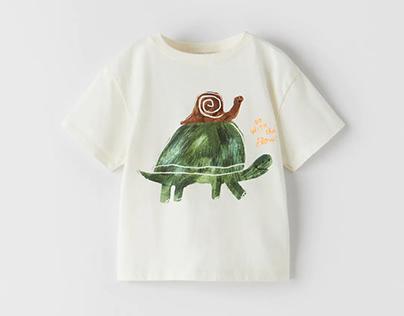 Zara Baby Boy SS21 - Turtle & Snail friends print