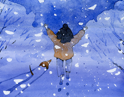 "Illustrations for the ""Yun Chen and the Snowman"""