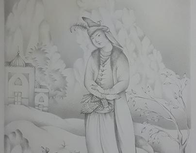 """Persian miniature pencil drawing 4""""x6"""""""