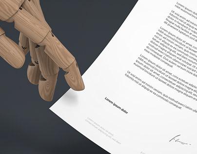 Wood Hand A4 Mockup