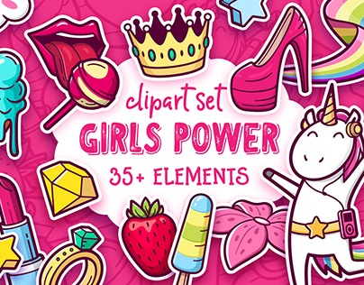Girls power. Clip art and pattern set