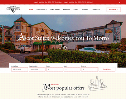 Homepage Design for a US based Hospitality Firm