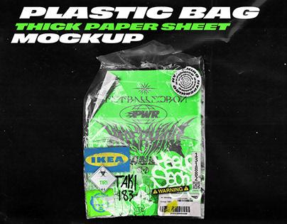 Plastic bag & thick paper sheet mockup