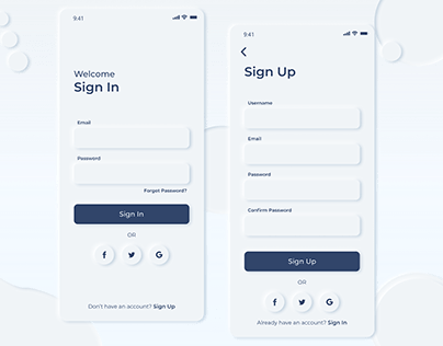 Sign In and Sign up screen design android phone