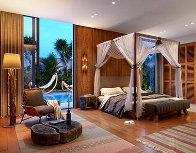 CGI modern balinese bedroom