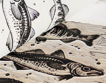 Reeled In, Linocut