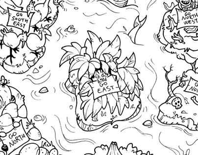Ink illustrations for coloring sheets