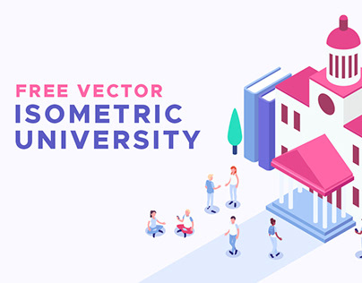 Vector Isometric University Illustrations