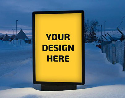 outdoor ads Russia village PSD Mockup * Free*