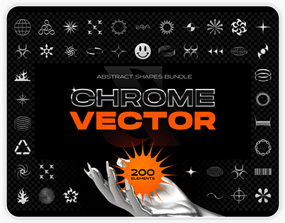 Chrome & vector abstract shapes bundle