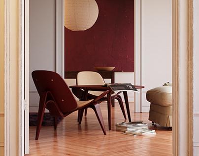 BORDO Shell Chair CH07   CGI