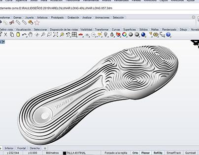 Modelado 3D suela de zapatillas