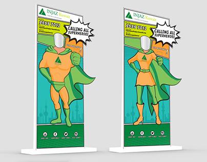 Injaz Superhero stand and brochure design