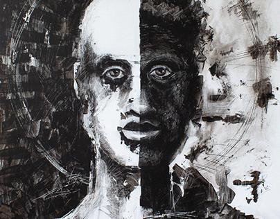 2020 1231 Blanco y negro 60 x 70 acrilico en madera