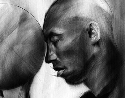 Kobe Bryant Digital Charcoal Tribute