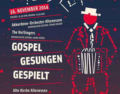 """poster """"gospel, gesungen, gespielt"""""""