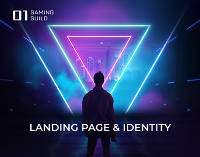 Play to earn gaming guild landing page, logo & identity