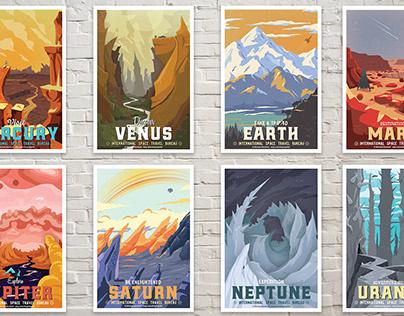 WPA - Retro Travel Posters - Solar System