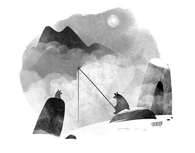 Digital Watercolor 'Black and White'