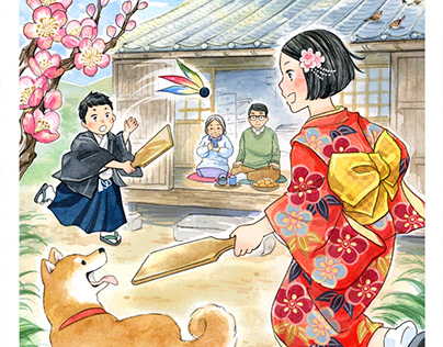 Illustrations with the theme of old Japanese lifestyle