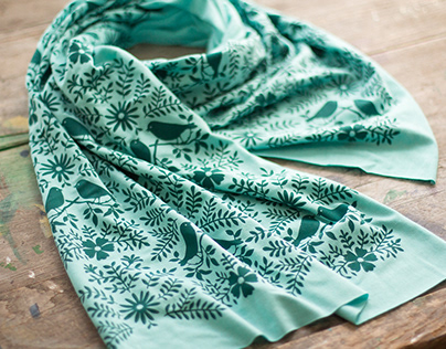 Hand-Printed Bamboo Scarves