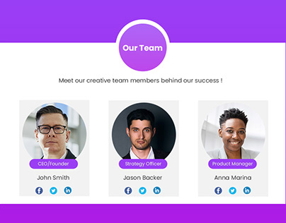 Our team page design