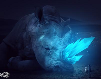 Glowing Crystal Rhino
