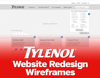 Tylenol website redesign, wireframe concepts