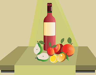 Wine and fruits illustration