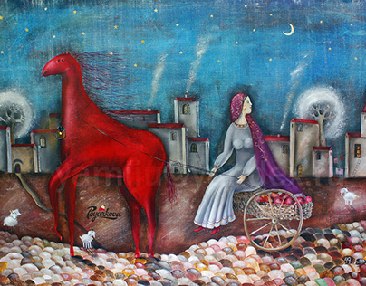 """The series of paintings """"the Red horse""""."""