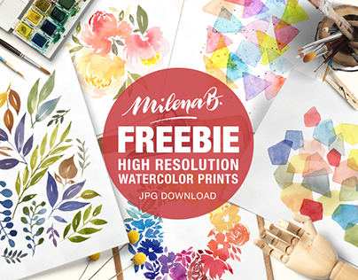 Milena B. FREEBIE Watercolor Prints