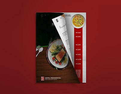 Hotel Presidential Room Service menu design