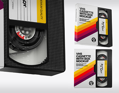 VHS Cassette with Box Mockups