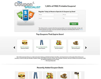 Wordpress based The Coupon Specialist website