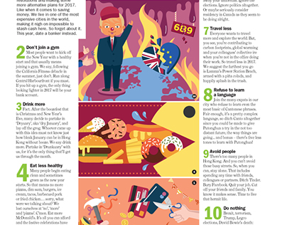 """""""NY's anti-resolutions"""" - illustration for Time Out HK"""