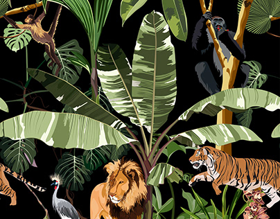 Seamless pattern with palms andexotic animals.