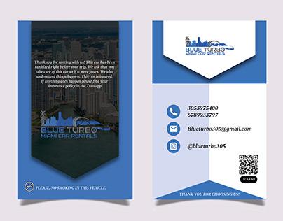 BLUE TURBO post Card Design