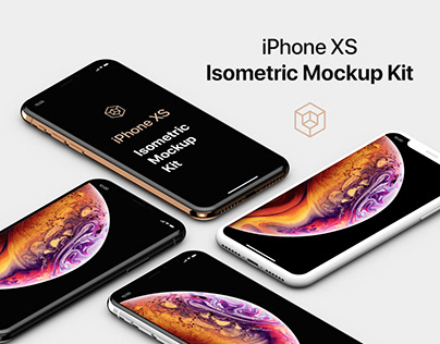 iPhone XS Isometric Mockup Kit with Clay Mockups