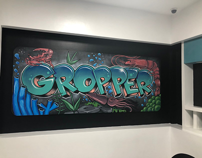 Under water themed mural for Gropper Seafood
