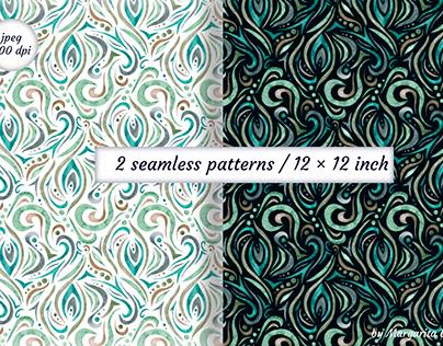 Watercolor seamless patterns. Digital paper