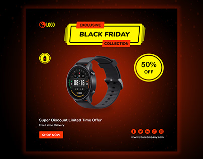 Black friday sale banner with watch