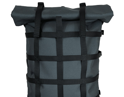 webbing rolltop backpack Grey