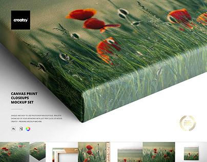 Canvas Print Closeups Mockup Set