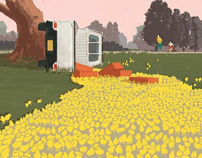 Chicks on light truck illustration for novel