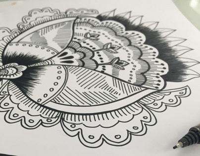 Fineliner ornate botanical drawing
