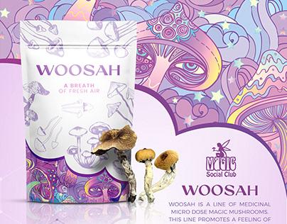 Woosah, medicinal psilocybin mushroom packaging design
