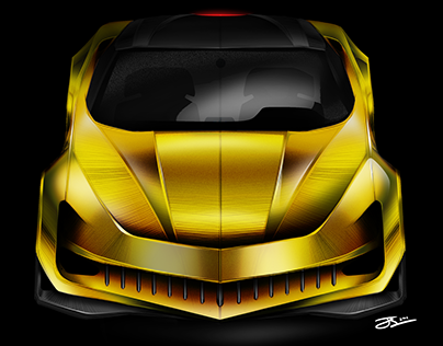 2022 Corvette Stingray Sketch & Photoshop Render